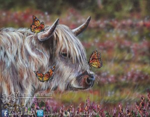 Highland cow and butterfly acrylic painting