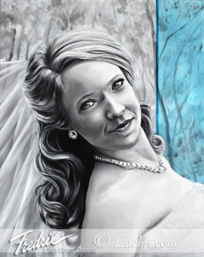Oil painting wedding portrait