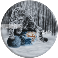 Surreal acrylic snow leopard painting