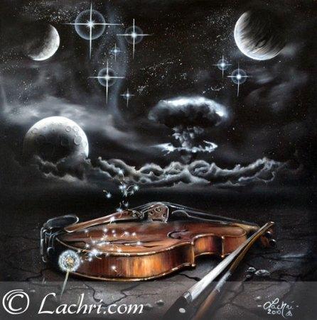 surreal violin acrylic painting