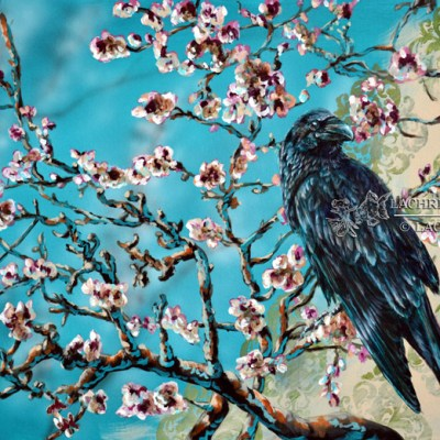 van Gogh almond branch inspired raven acrylic painting