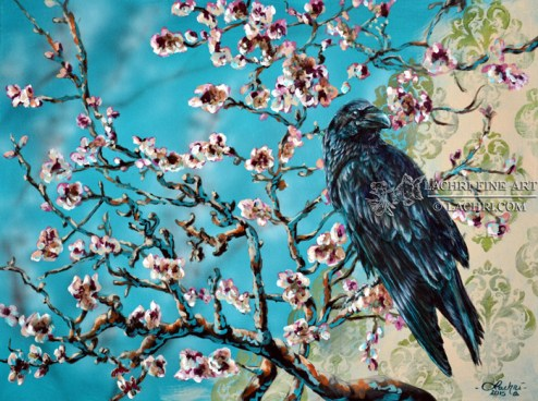 van Gogh almond branch inspired raven acrylic painting