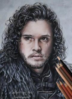 Jon Snow Fan Art in Colored Pencil