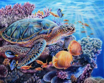 Sea Turtle in Colored Pencil