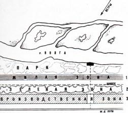 esquema de Miliutin para la ciudad satélite de la fábrica de tractores de Stalingrado