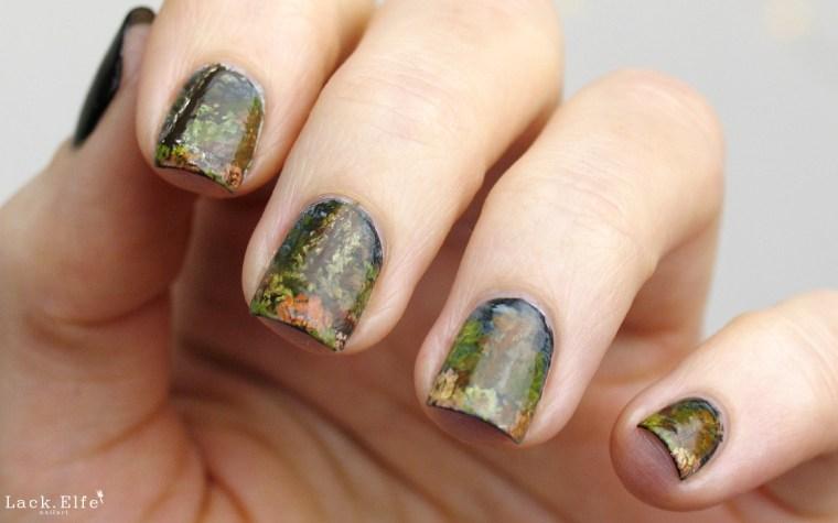 Indian Summer Bob Ross Acrylic Paint Nail Art
