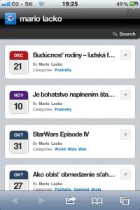 Webová stránka cez iPhone