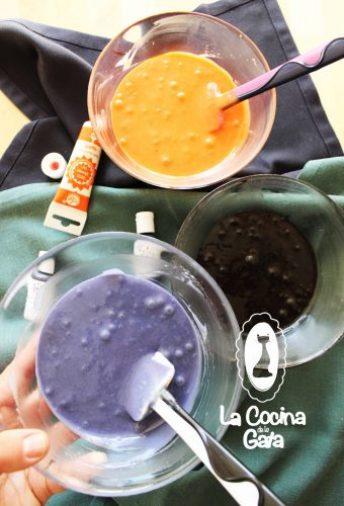 Colores Halloween para la mezcla de los bizcochos