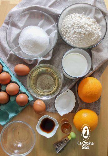 Ingredientes para el bizcocho de naranja y ron