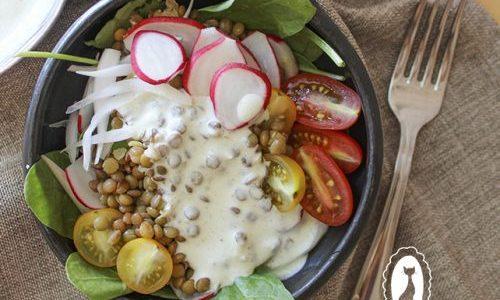 Bowl de Lentejas con salsa de yogur y Cilantro