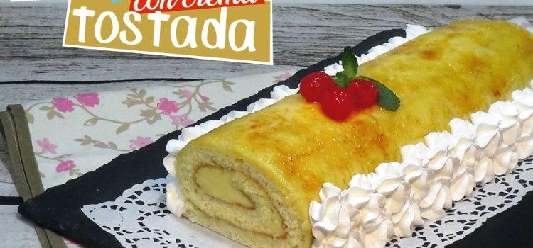 Brazo de gitano con crema tostada o pionono de crema