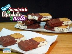Maxibon casero - Sándwich helado de nata y chocolate