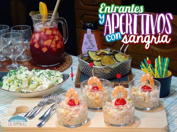 Entrantes o aperitivos con sangría para una comida o cena informal