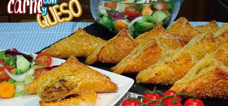 Empanadas de hojaldre rellenas de carne y queso ¡Muy fácil y rápido!