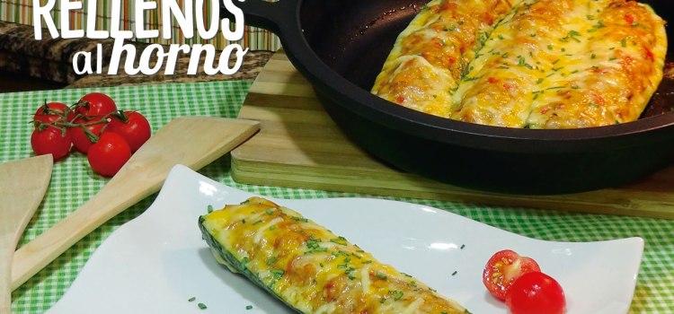 Calabacines rellenos de pollo y verduras con queso al horno
