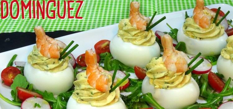 Huevos rellenos con gambas y mi truco para pelar los huevos cocidos