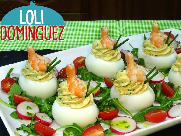 Huevos rellenos con gambas y mi truco para pelar los huevos cocidos.