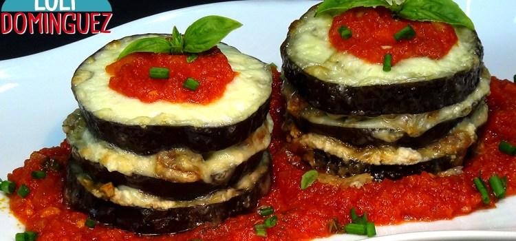 Berenjenas rellenas con queso al horno. Receta ligera y saludable.