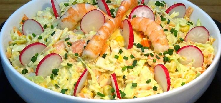 Ensalada de Col o Repollo con gambas (Coleslaw), muy rica y fácil. La ensalada de col (Coleslaw) es una de las ensaladas más famosas del mundo