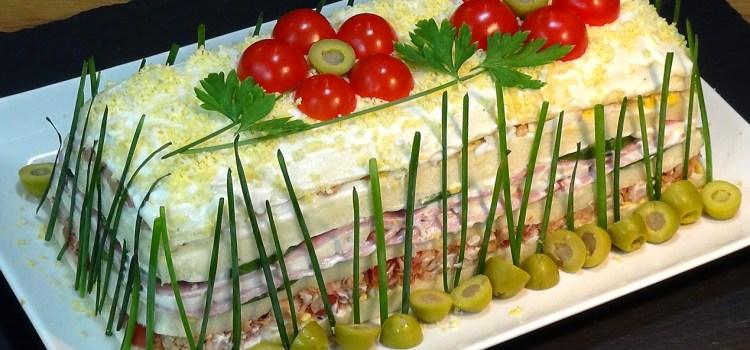 Pastel frio con atún o sandwichón de atún, fácil y económico
