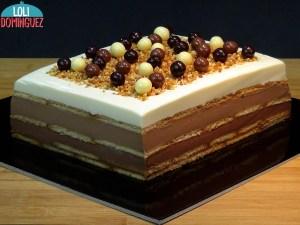Tarta de 3 chocolates con galletas, una tarta sin horno que es una versión de tarta de la abuela con 3 chocolates
