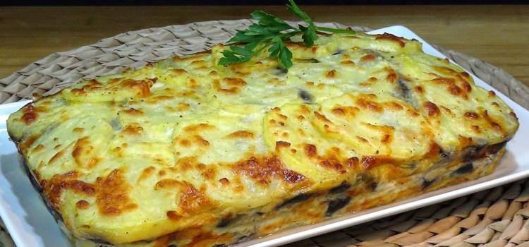 Pastel de patatas, berenjenas, jamón york y queso, fácil y SIN FRITOS