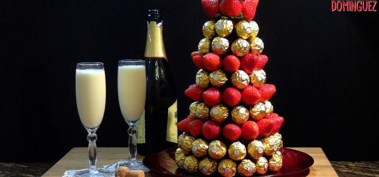 2 IDEAS ESPECIAL FIN DE AÑO. Sorbete de champán con helado de limón y abeto de bombones y fresas unas ideas para sorprender a nuestra familia y amigos
