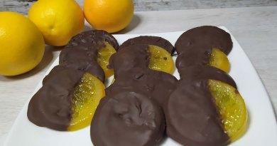 naranjas confitadas con chocolate