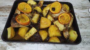 muslos de pollo a la naranja