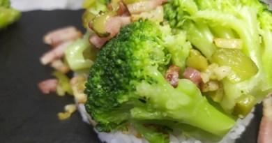 salteado de brocoli con jamon o bacon