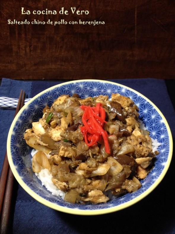 salteado chino de pollo con berenjenas