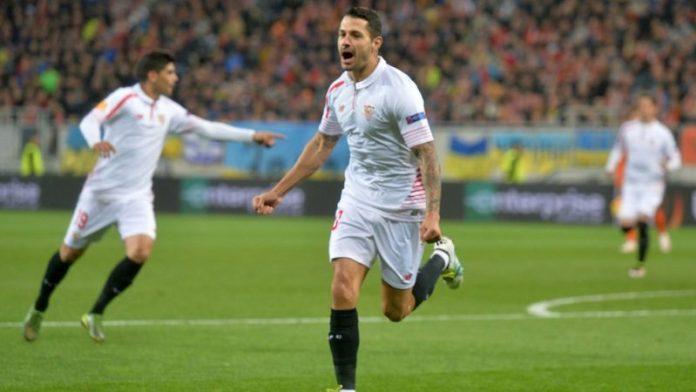 Vitolo celebra el 0-1 en las semifinales UEL frente a Shakhtar |Imagen: UEFA