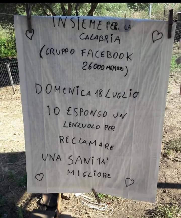 ESPONIAMO DOMENICA 18 LUGLIO UN LENZUOLO PER LA SANITA' CALABRESE