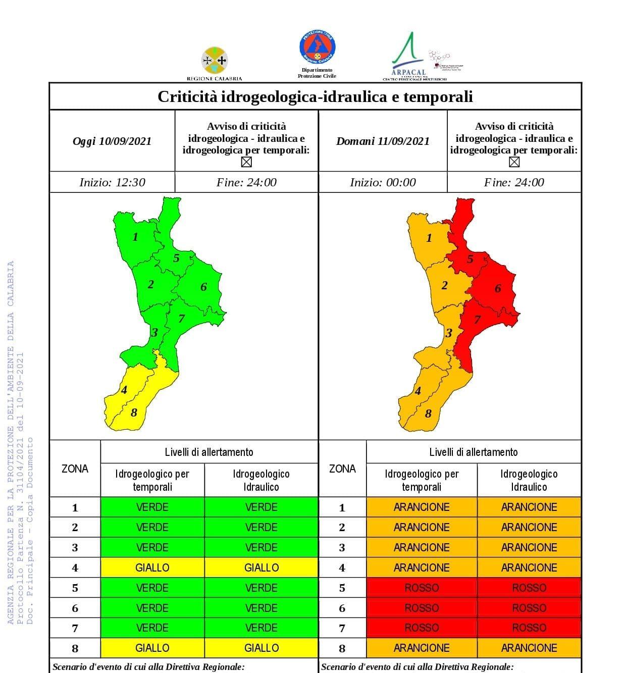 La Protezione civile della Calabria ha emesso un bollettino di allerta meteo per la giornata di domani, sabato 11 settembre