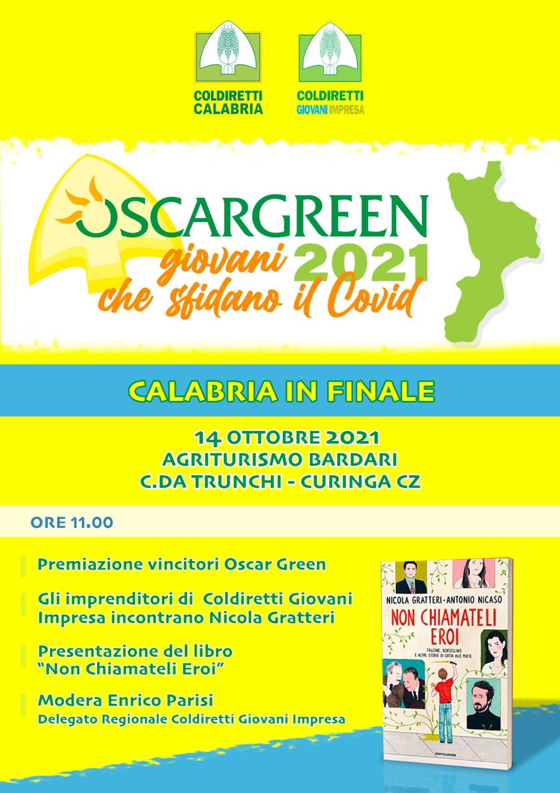 Coldiretti Premio Oscar Green 2021: ci sarà il Procuratore dott. Nicola Gratteri -Giovedì 14 ottobre p.v. gran finale regionale all'agriturismo Bardari a Curinga (CZ) c.da Trunchi