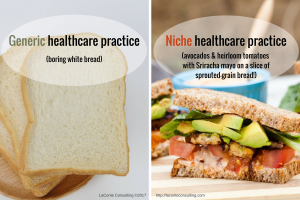 white bread, generic, avocados, heirloom tomatoes, Sriracha, sprouted grain, niche, niche practice, healthcare practice