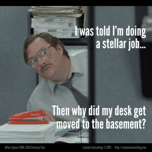 Office Space, Milton, red stapler, motivation, engagement, basement, management, leadership, employee