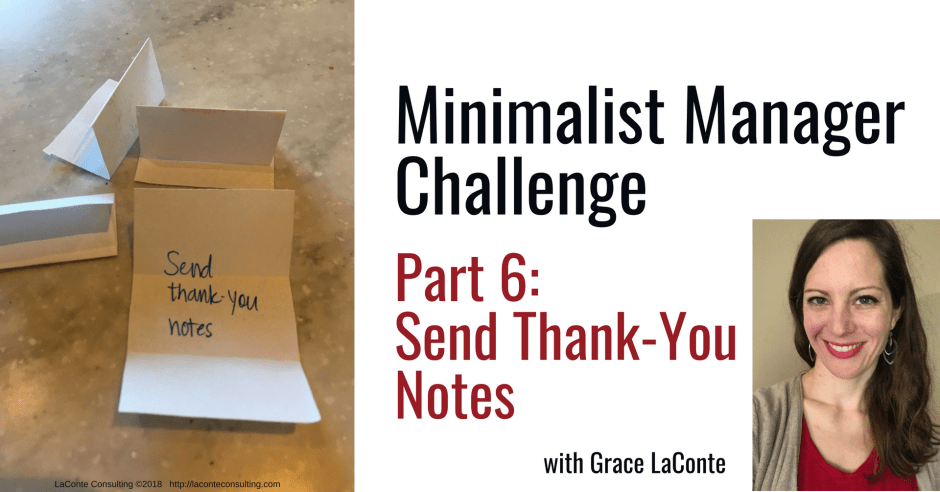 minimalist manager, the minimalist manager, minimalist challenge, management, thankful, thank you, thank you note, strategic planning, strategic risk