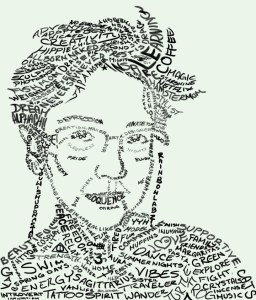 word art, self-portrait, Mariel LaBrecque, hand drawing, artistic talent