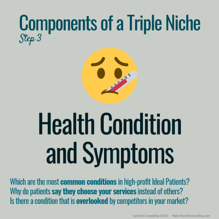 triple niche, niche, niche market, niche marketing, niche practice, practice niche, niche practitioner, demographics, health condition, symptoms