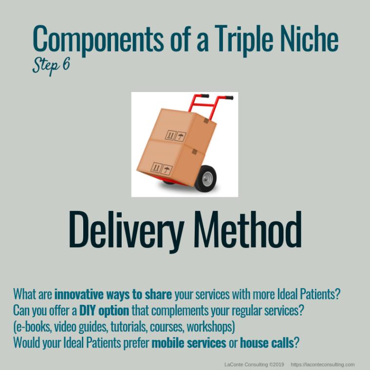 triple niche, niche, niche market, niche marketing, niche practice, practice niche, niche practitioner, demographics, delivery method, innovation, DIY option