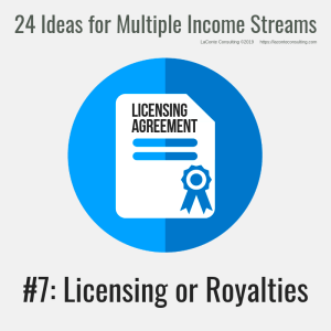 multiple income, multiple income streams, licensing or royalties, licensing agreement, profit, profit margins, income streams, profit streams, strategic risk, strategic marketing, marketing