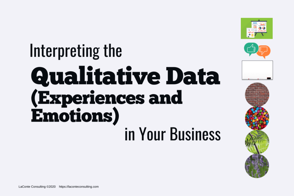 "Gray background with icons on right and title ""Interpreting the Qualitative Data (Experiences and Emotions) in Your Business"""