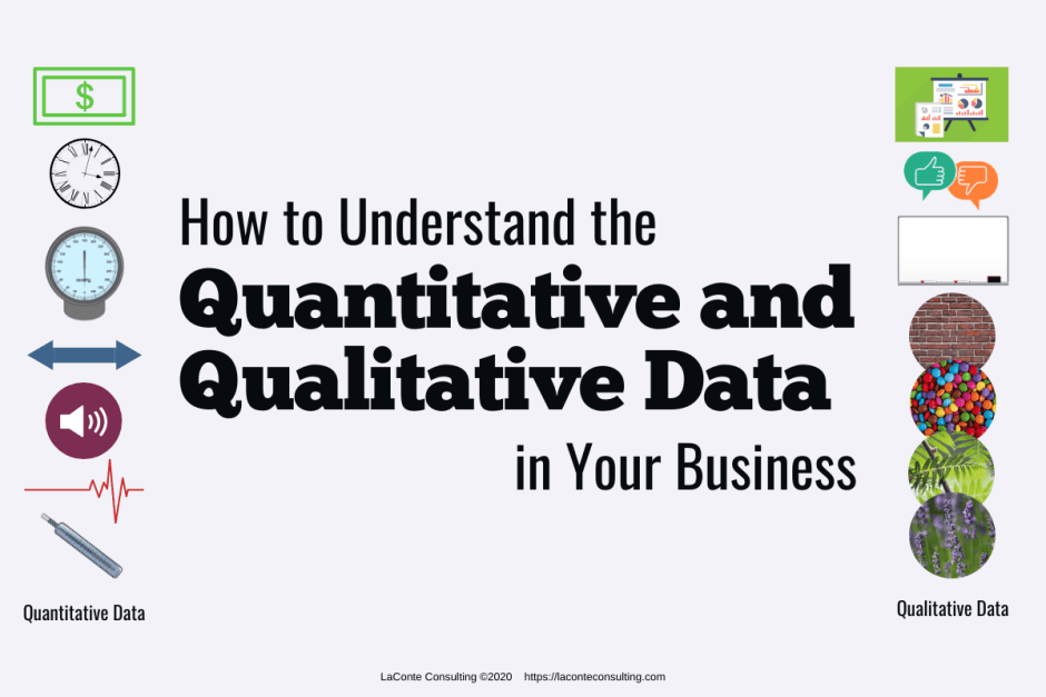 "Gray background with images in columns on left and right sides; title ""How to Understand the Quantitative and Qualitative Data in Your Business"""