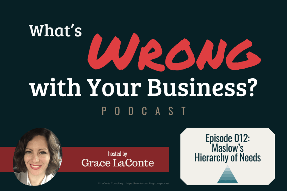 """What's Wrong with Your Business"" podcast with Grace LaConte Episode 12, Maslow's Hierarchy of Needs"