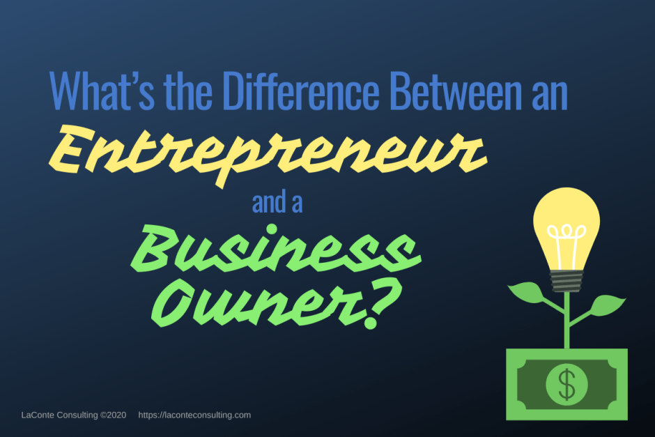 "Navy background with light bulb & money and title ""What's the Difference an Entrepreneur and a Business Owner?"""