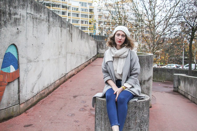 look automne hiver vegan manteau gris
