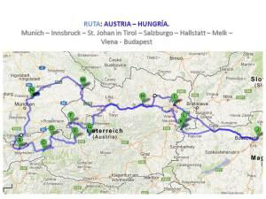 Mapa ruta Austria - Hungría