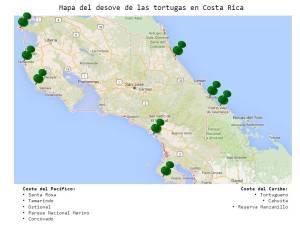 Mapa del desove de las tortugas en Costa Rica