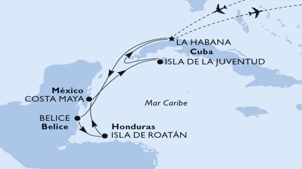 Mapa, itinerario de crucero por el Caribe